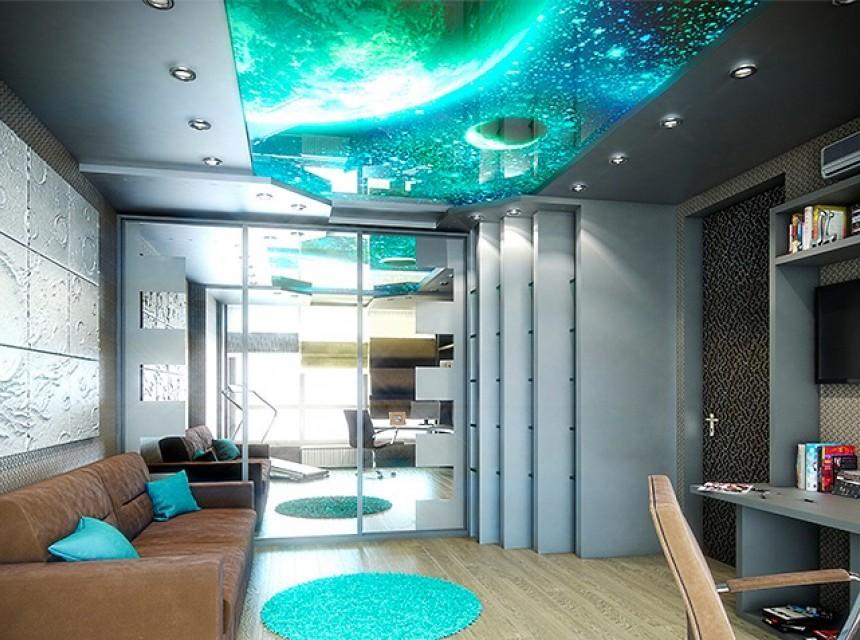 3D натяжной потолок космос