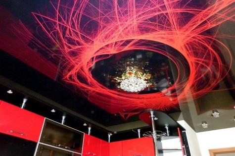 3D натяжной потолок красные абстракции