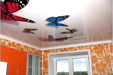 3D натяжной потолок бабочки