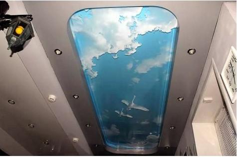 3D натяжной потолок солнечное небо