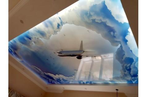 Художественный натяжной потолок небо