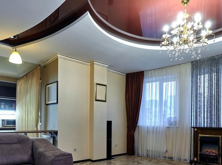 Натяжной эко-потолок коричневый