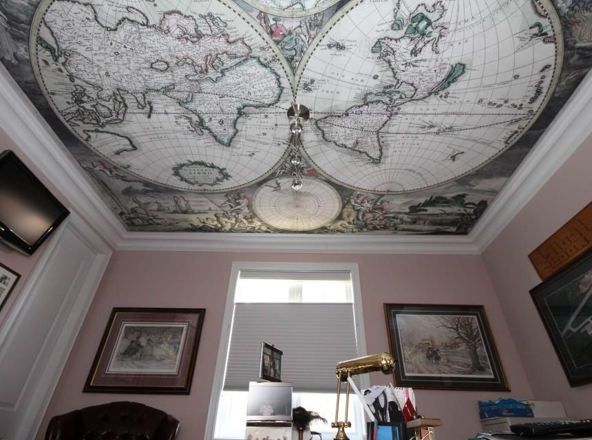 Натяжной потолок с фотопечатью для кабинета