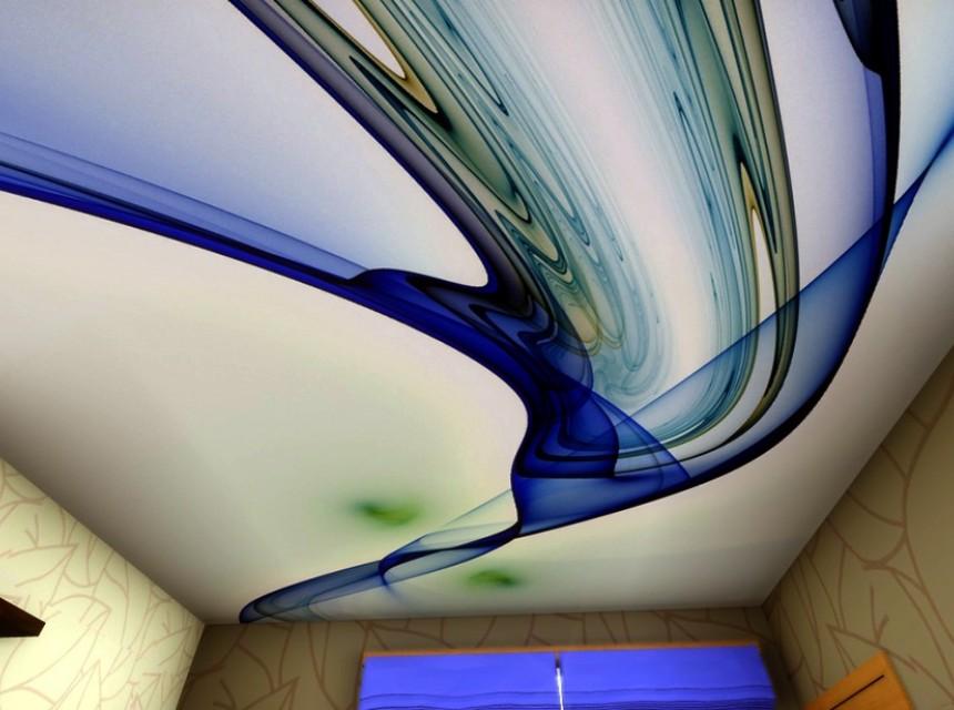 Натяжной потолок с фотопечатью абстракция