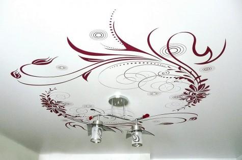 Натяжной потолок с фотопечатью узоры