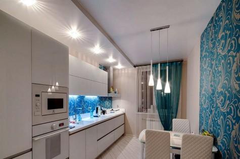 Натяжной потолок в кухню белый