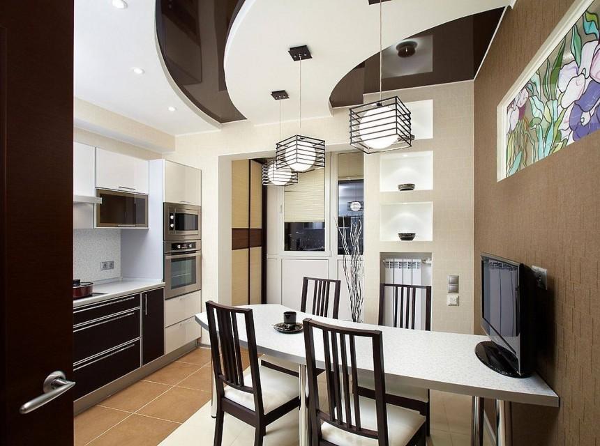 Натяжной потолок в кухню двухуровневый