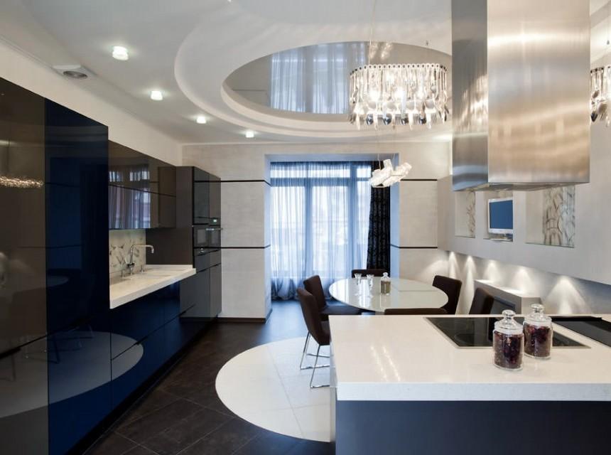 Натяжной потолок в кухню разноуровневый