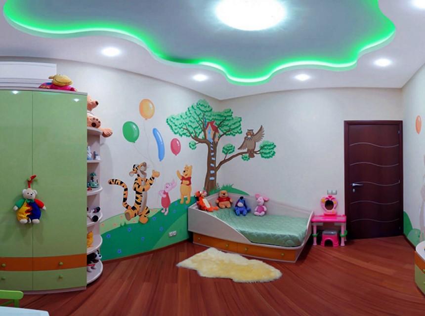 Натяжной потолок в детскую с двухуровневый
