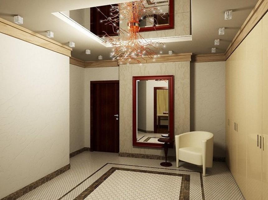Натяжной потолок в прихожую зеркальный