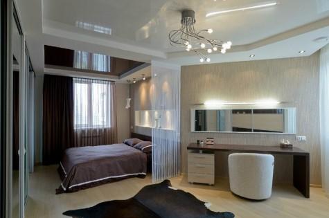 Натяжной потолок в спальню двухуровневый