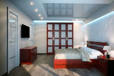 Натяжной потолок в спальню с подсветкой