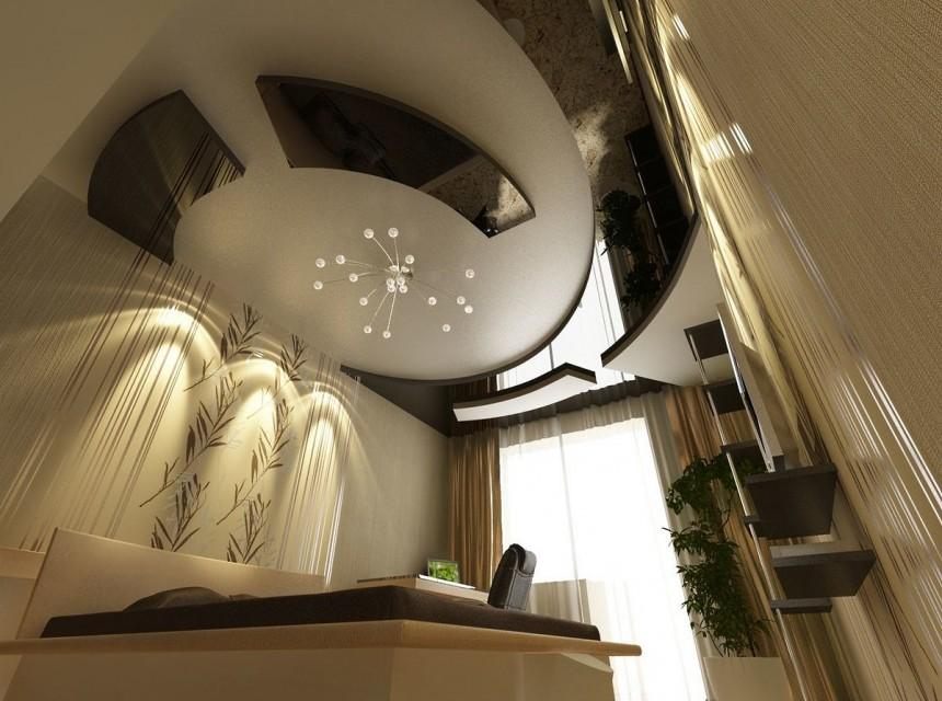 Разноуровневый натяжной потолок бело-коричневый