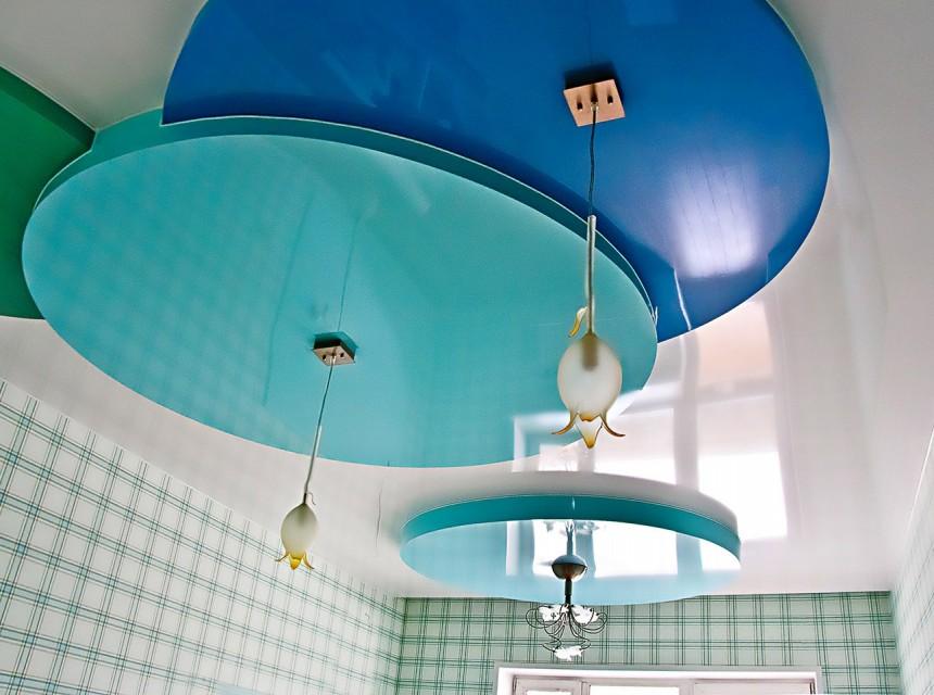 Разноуровневый натяжной потолок круги