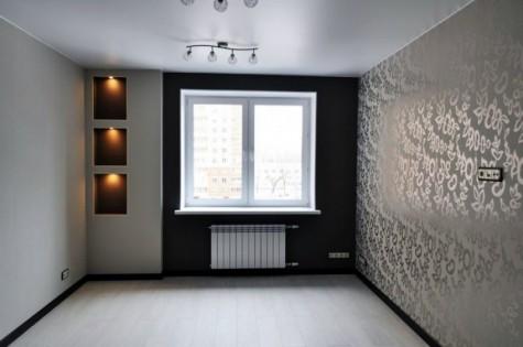 Сатиновый натяжной потолок в гостиную