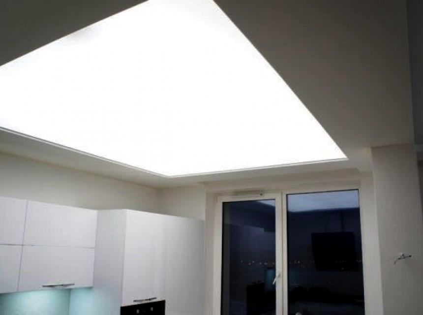 Светодиодный натяжной потолок на кухню