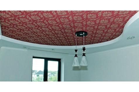 Тканевый натяжной потолок бордо
