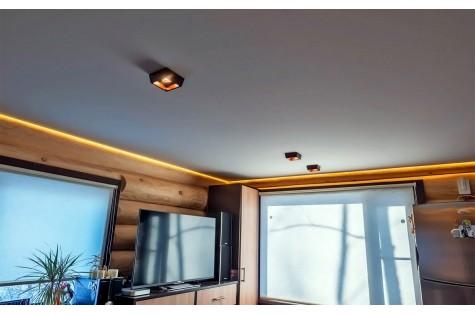 Тканевый натяжной потолок для кухни-гостиной